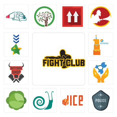 Set Of 13 simple editable icons such as fight club, police badge, dice, snails, cabbage, chemist, butcher shop, first birthday, military can be used for mobile, web UI Vettoriali