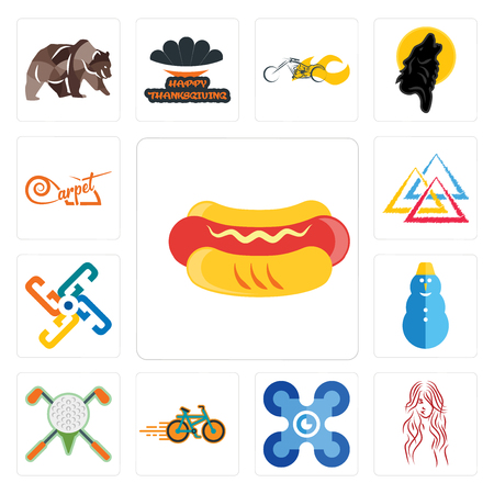 Set Of 13 simple editable icons such as hot dog, long hair, drones, bike shop, golf tournament, snowman, generic, three triangle, carpet can be used for mobile, web UI