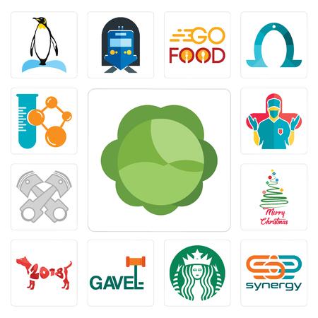 Conjunto de 13 iconos editables sencillos como repollo, sinergia, starbucks, martillo, año del perro, feliz navidad, registro de pistón, cirujano, empresa química puede utilizarse para móviles, la interfaz de usuario web