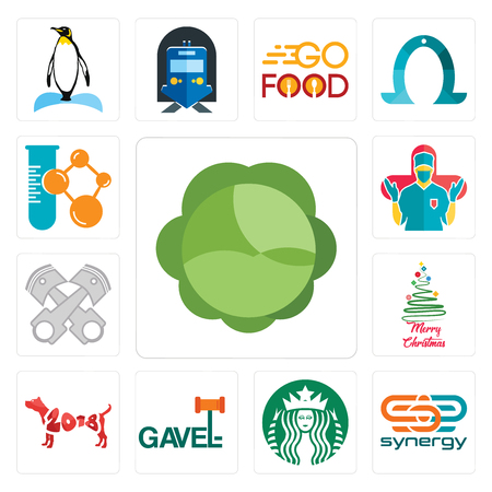 Set Of 13 simple editable icons such as cabbage, synergy, starbucks, gavel, year of the dog, merry christmas, piston log, surgeon, chemical company can be used for mobile, web UI Stockfoto - 102022280