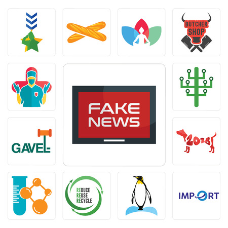 Set Of 13 simple editable icons such as fake news, import, penguin, uce reuse recycle, chemical company, year of the dog, gavel, digital tree, surgeon can be used for mobile, web UI
