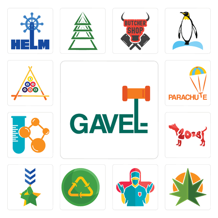Set Of 13 simple editable icons such as gavel, weed leaf, surgeon, recycle reuse uce, military, year of the dog, chemical company, parachute, billiard can be used for mobile, web UI Illustration