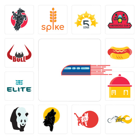 Set Of 13 simple editable icons such as railway, chopper, cat, black wolf, , homemade food, the elite, hot dog, bull horn can be used for mobile, web UI