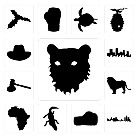 Set Of 13 simple editable icons such as tiger face outline on white background, michigan state boxing glove background can be used for mobile, web UI Çizim