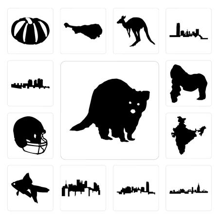 Set Of 13 simple editable icons such as raccoon, alabama, oklahoma, pennsylvania state, goldfish, india, football helmet, gorilla, haiti can be used for mobile, web UI Illustration