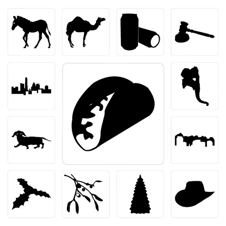 Set Of 13 simple editable icons such as taco outline on white background, cowboy hat christmas tree images background can be used for mobile, web UI Vettoriali