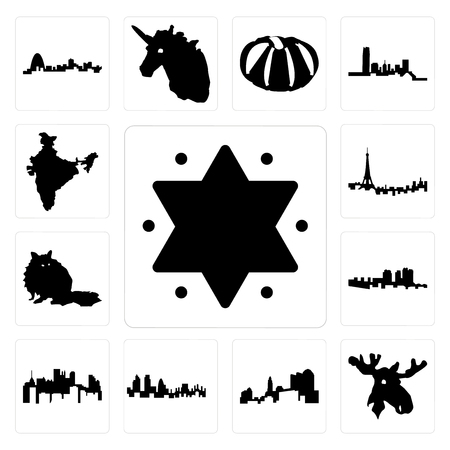 Set Of 13 simple editable icons such as star of david, moose head, ohio, london skyline, pennsylvania state, haiti, raccoon, paris india can be used for mobile, web UI Illustration