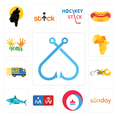 Set of fishing hook, sunday, heating cooling, restroom, sharks, chopper, free delivery, africa map, 10 years icons