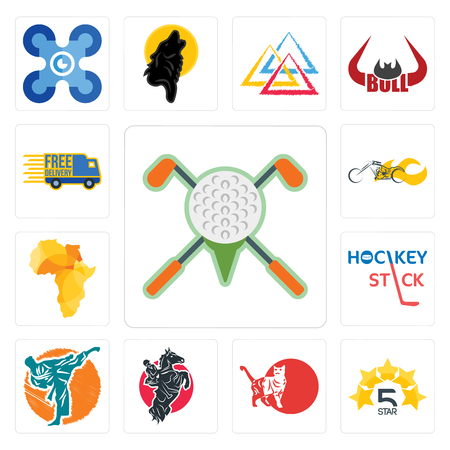 Set of golf tournament, 5 star, cat, equestrian, martial arts, hockey stick, africa map, chopper, free delivery icons