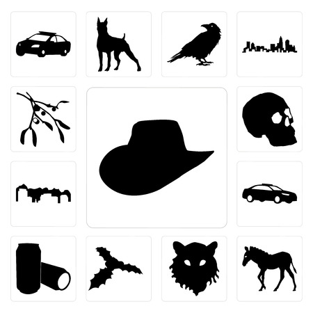 Set Of 13 simple editable icons such as cowboy hat outline on white background, zebra tiger face background can be used for mobile, web UI Vettoriali