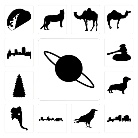 Set Of 13 simple editable icons such as saturn outline on white background, louisiana raven background can be used for mobile, web UI Çizim