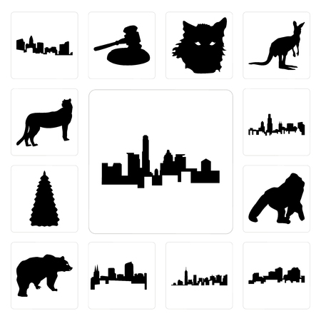 Set Of 13 simple editable icons such as state of texas outline on white background, louisiana manhattan background can be used for mobile, web UI