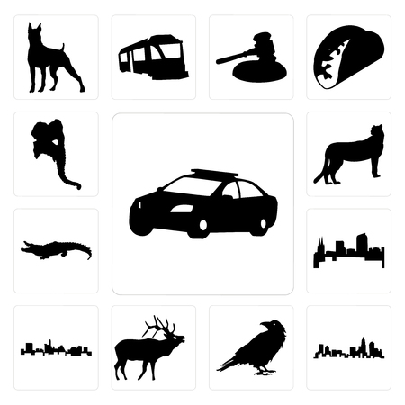 Set Of 13 simple editable icons such as police car outline on white background, north carolina state raven background can be used for mobile, web UI