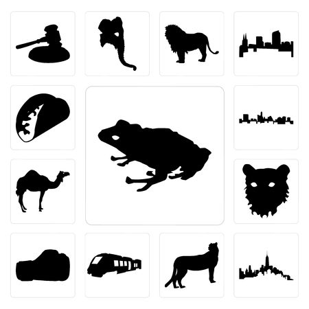 Set Of 13 simple editable icons such as frog outline on white background, of manhattan cheetah background can be used for mobile, web UI
