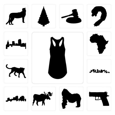 Set Of 13 simple editable icons such as tank top outline on white background, handgun gorilla, moose background can be used for mobile, web UI 矢量图像