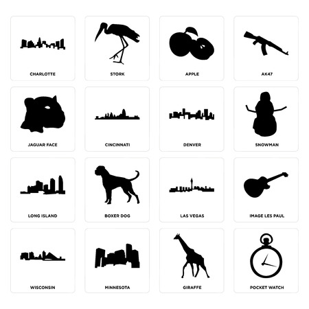 Set Of 16 simple editable icons such as pocket watch, giraffe, minnesota, wisconsin, image les paul, charlotte, jaguar face, long island, denver can be used for mobile, web UI