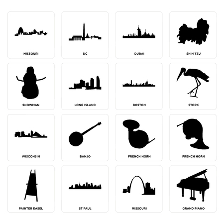 Set Of 16 simple editable icons such as grand piano, missouri, st paul, painter easel, french horn, snowman, wisconsin, boston can be used for mobile, web UI