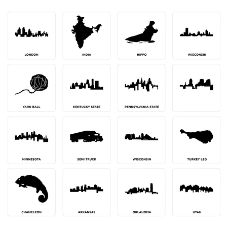 Set Of 16 simple editable icons such as utah, oklahoma, arkansas, chameleon, turkey leg, london, yarn ball, minnesota, pennsylvania state can be used for mobile, web UI  イラスト・ベクター素材