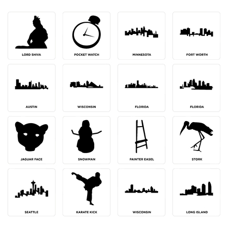 Set Of 16 simple editable icons such as long island, wisconsin, karate kick, seattle, stork, lord shiva, austin, jaguar face, florida can be used for mobile, web UI