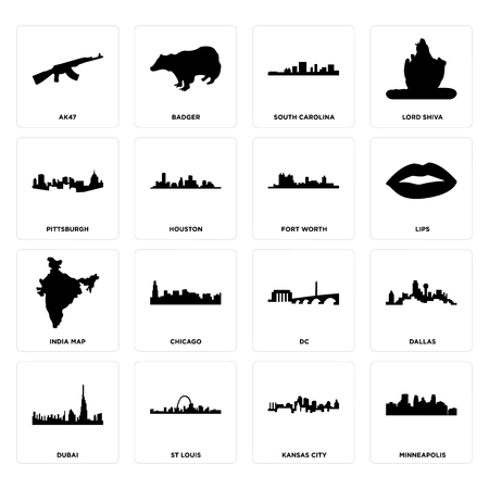 Set Of 16 simple editable icons such as minneapolis, kansas city, st louis, dubai, dallas, ak47, pittsburgh, india map, fort worth can be used for mobile, web UI