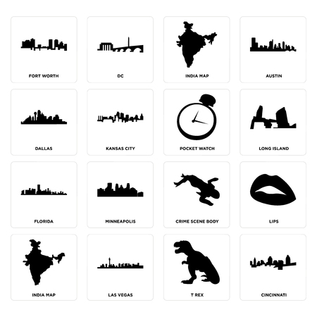 Set Of 16 simple editable icons such as cincinnati, t rex, las vegas, india map, lips, fort worth, dallas, florida, pocket watch can be used for mobile, web UI Foto de archivo - 102076400