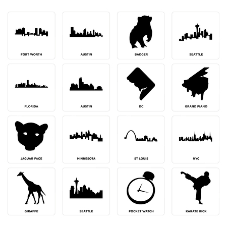 Set Of 16 simple editable icons such as karate kick, pocket watch, seattle, giraffe, nyc, fort worth, florida, jaguar face, dc can be used for mobile, web UI