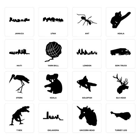 Set Of 16 simple editable icons such as turkey leg, unicorn head, oklahoma, t rex, elk jamaica, haiti, stork, london can be used for mobile, web UI
