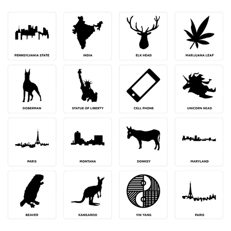Set Of 16 simple editable icons such as paris, yin yang, kangaroo, beaver, maryland, pennsylvania state, doberman, cell phone can be used for mobile, web UI