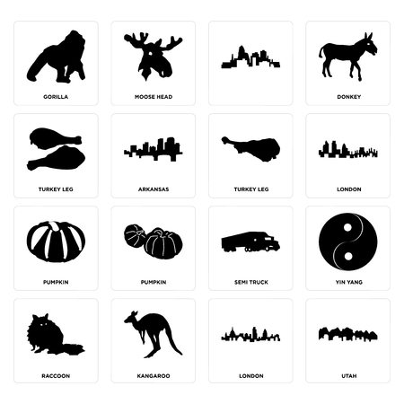 Set Of 16 simple editable icons such as utah, london, kangaroo, raccoon, yin yang, gorilla, turkey leg, pumpkin, leg can be used for mobile, web UI