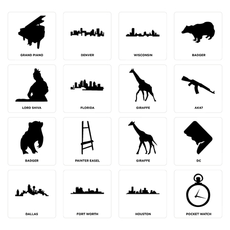 Set Of 16 simple editable icons such as pocket watch, houston, fort worth, dallas, dc, grand piano, lord shiva, badger, giraffe can be used for mobile, web UI