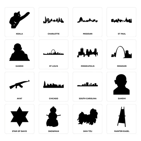 Set Of 16 simple editable icons such as painter easel, shih tzu, snowman, star of david, gandhi, koala, ak47, minneapolis can be used for mobile, web UI Illustration