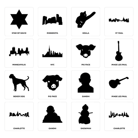 Set Of 16 simple editable icons such as charlotte, snowman, gandhi, image les paul, star of david, minneapolis, boxer dog, pig face can be used for mobile, web UI  イラスト・ベクター素材