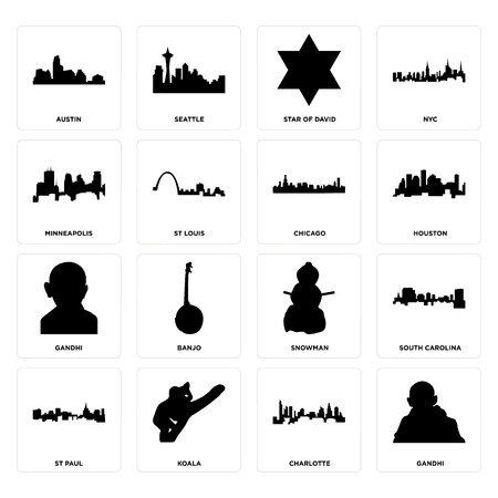 Set Of 16 simple editable icons such as gandhi, charlotte, koala, st paul, south carolina, austin, minneapolis, chicago can be used for mobile, web UI Illustration