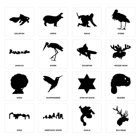 Set Of 16 simple editable icons such as elk head, chalk, kentucky state, utah, beaver, goldfish, jamaica, afro, goldfish can be used for mobile, web UI