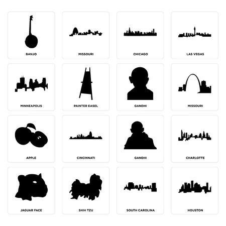 Set Of 16 simple editable icons such as houston, south carolina, shih tzu, jaguar face, charlotte, banjo, minneapolis, apple, gandhi can be used for mobile, web UI