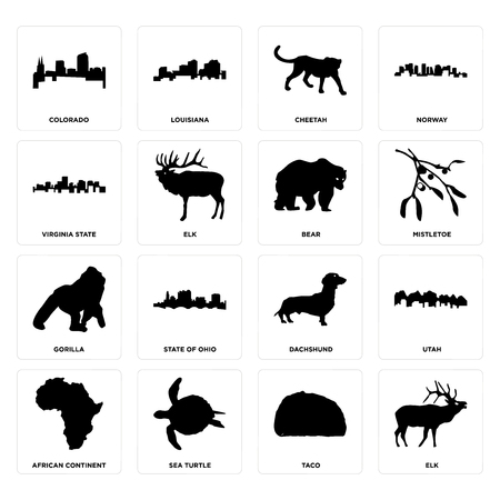Set Of 16 simple editable icons such as elk, taco, sea turtle, african continent, utah, colorado, virginia state, gorilla, bear can be used for mobile, web UI  イラスト・ベクター素材