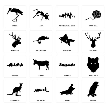 Set Of 16 simple editable icons such as beaver, hippo, oklahoma, kangaroo, wolf face, stork, elk head, jamaica, goldfish can be used for mobile, web UI