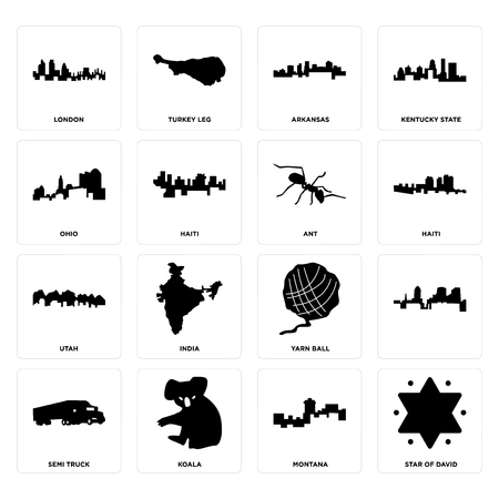 Set Of 16 simple editable icons such as star of david, montana, koala, semi truck, , london, ohio, utah, ant can be used for mobile, web UI 向量圖像
