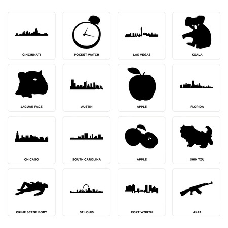 Set Of 16 simple editable icons such as ak47, fort worth, st louis, crime scene body, shih tzu, cincinnati, jaguar face, chicago, apple can be used for mobile, web UI Foto de archivo - 102324019
