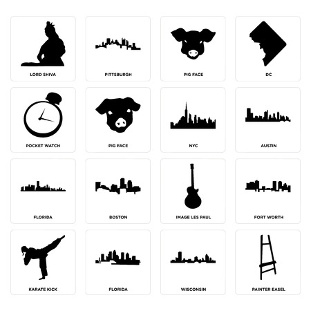 Set Of 16 simple editable icons such as painter easel, wisconsin, florida, karate kick, fort worth, lord shiva, pocket watch, nyc can be used for mobile, web UI Illustration