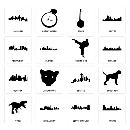 Set Of 16 simple editable icons such as austin, south carolina, kansas city, t rex, boxer dog, minnesota, fort worth, houston, karate kick can be used for mobile, web UI Illustration