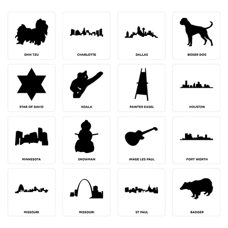 Set Of 16 simple editable icons such as badger, st paul, missouri, fort worth, shih tzu, star of david, minnesota, painter easel can be used for mobile, web UI