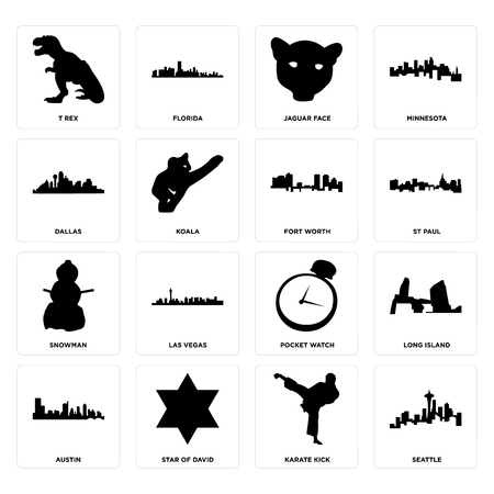 Set Of 16 simple editable icons such as seattle, karate kick, star of david, austin, long island, t rex, dallas, snowman, fort worth can be used for mobile, web UI