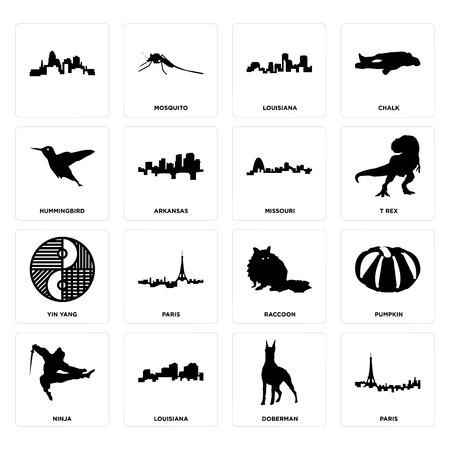 Set Of 16 simple editable icons such as paris, doberman, louisiana, ninja, pumpkin, , hummingbird, yin yang, missouri can be used for mobile, web UI Illusztráció