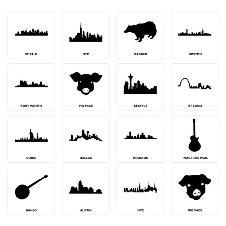 Set Of 16 simple editable icons such as pig face, nyc, austin, banjo, image les paul, st fort worth, dubai, seattle can be used for mobile, web UI Illustration