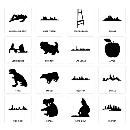 Set Of 16 simple editable icons such as florida, lord shiva, koala, wisconsin, dallas, crime scene body, long island, t rex, las vegas can be used for mobile, web UI Illustration
