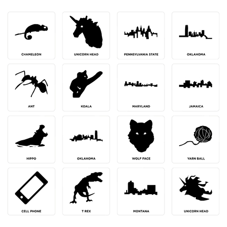 Set Of 16 simple editable icons such as unicorn head, montana, t rex, cell phone, yarn ball, chameleon, ant, hippo, maryland can be used for mobile, web UI