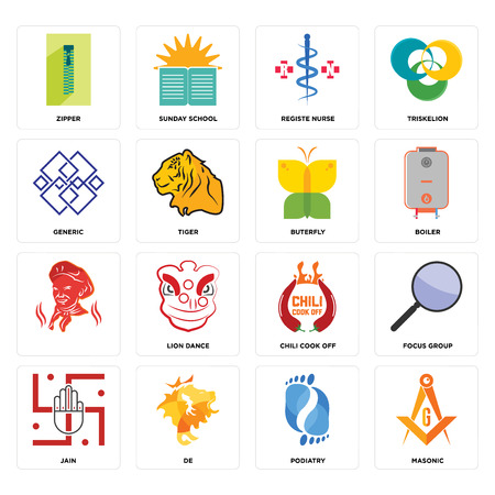 Set Of 16 simple editable icons such as masonic, podiatry, de, jain, focus group, zipper, generic, , buterfly can be used for mobile, web UI Ilustracja