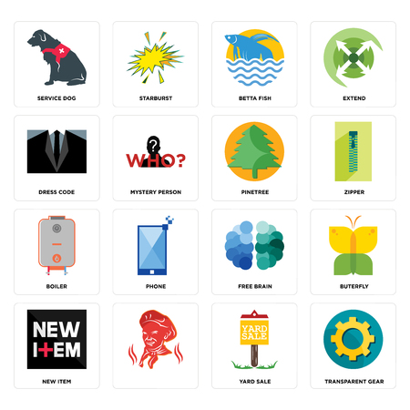 Set Of 16 simple editable icons such as transparent gear, yard sale, , new item, buterfly, service dog, dress code, boiler, pinetree can be used for mobile, web UI
