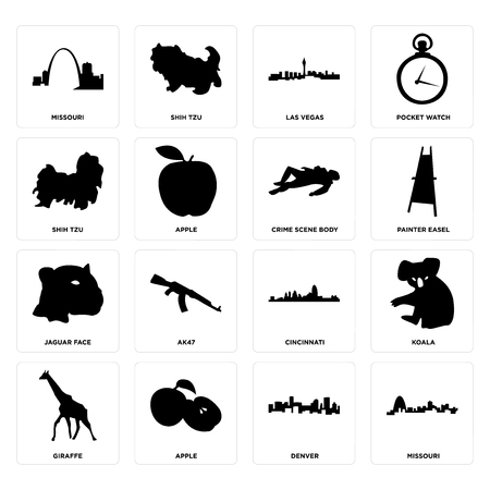 Set Of 16 simple editable icons such as missouri, denver, apple, giraffe, koala, shih tzu, jaguar face, crime scene body can be used for mobile, web UI Çizim